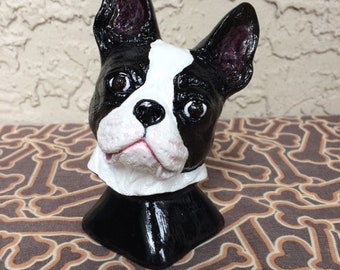 Hand Painted Boston Terrier Bust