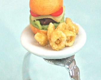 burger and onion rings ring-miniature food jewelry, fast food jewelry