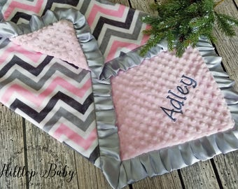Pink and gray personalized baby girl blanket, pink baby shower gift, newborn baby gift