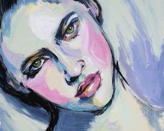 "Art Print, ""Contrary"", Wall Art, Original Art, Original Painting, Wall Decor, Portrait Painting, Prints, Figurative Art, 12x12, 8x8"