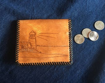Vintage Handcrafted Brown Leather Wallet with Dark Brown Whip Stitch, Handtooled Lighthouse