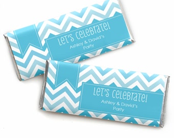 24 Chevron Blue Custom Candy Bar Wrappers - Personalized Baby Shower,  Birthday Party, or Bridal Shower Favors