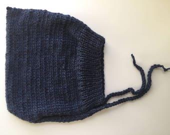 Navy Pixie Bonnet, Size 2-4 Years