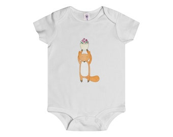 Onesie FOXY With Flowerpot Purple Flowers Baby Shower Present Gift