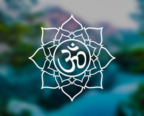 Vinyl decal sticker lotus flower om sanskrit meditation mightylinksfo