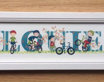 Bicycle / bike / cycling Door Plaque - Children's / Kids / name sign / Illustration