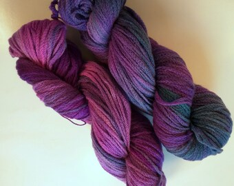 Purple Anemone on Chain DK SW Merino Hand dyed DK weight  yarn