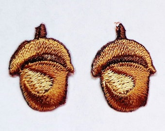 embroidered iron on applique-ACORN set of two