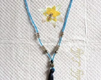 Navy Blue Tassel Necklace