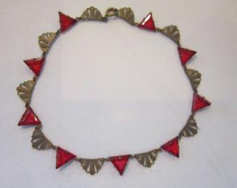 """deco necklace red stones vintage deco necklace 14 1/2"""""""