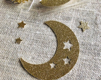 Over the Moon Confetti, Hey Diddle Diddle Baby Shower Decorations, Moon and Star Baby Shower