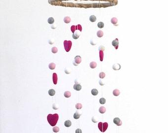 LARGE Pink, Gray, White Felt Ball & Heart Nursery Mobile- Nursery Childrens Room Pom Pom Mobile Garland Decor