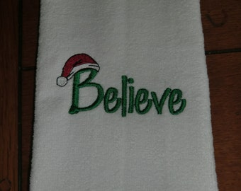 White Embroidered Finger Tip Towel  - Christmas - Believe