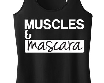 MUSCLES & MASCARA Workout Tank Top Black with White, Workout Tanks, Gym Tank, Muscles tank, Workout, Fitness, Workout Shirt, Fitness