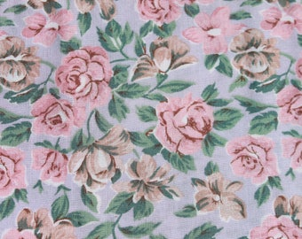 Vintage Pink Roses on Blue Soft Cotton Rayon Fabric by the Yard, Floral Flower Blouse Skirt Dress Sewing Fabric, BTY Yardage