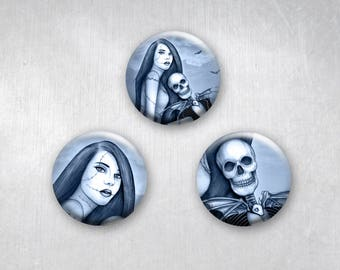 Jack & Sally, Nightmare Before Christmas, Pinback Buttons, Original Art Design, 1.25 inch, Set of 3
