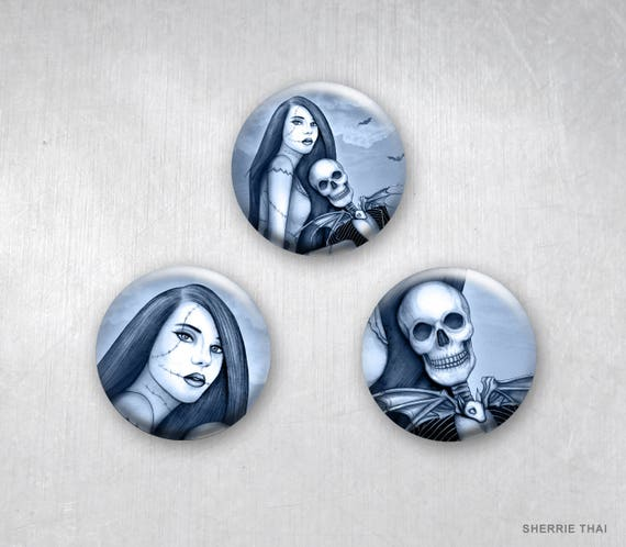 Jack and Sally pinback buttons on etsy, art by Sherrie Thai of Shaireproductions.com