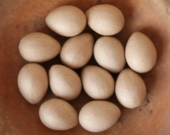 Mache Eggs - One Dozen Unfinished Egg Craft Forms, 2 1/2 inch