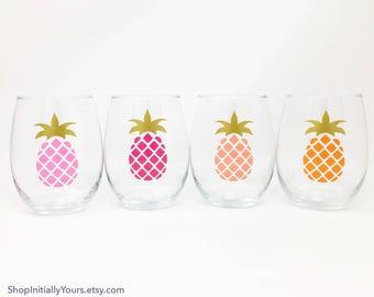 Custom Stemless Wine Glass, Beach Wine Glasses, Lake House Glasses, Pineapple Wine Glass, Palm Tree Wine, Custom Icon Glass, Anchor Wine