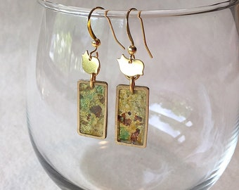 Handpainted Forest Green and Gold Translucent Earrings with Perched Bird