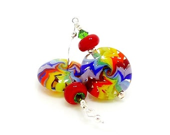 Rainbow Earrings, Bright Earrings, Colorful Earrings, Lampwork Earrings, Glass Earrings, Hippie Earrings, Funky Earrings, Glass Bead Earring