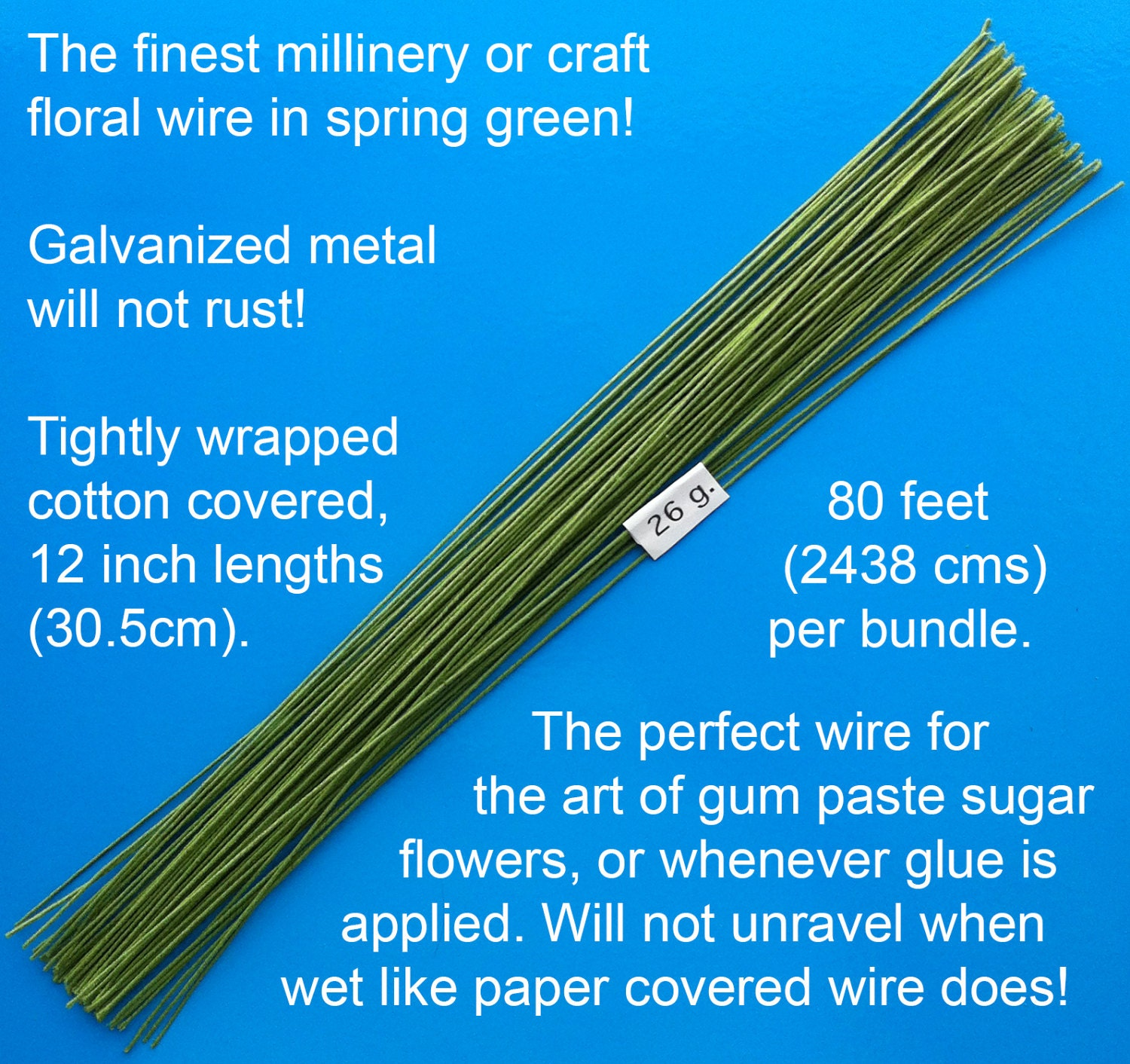 26 Gauge Green Cotton Covered Floral Wire - 80 feet per bundle (24.4 ...