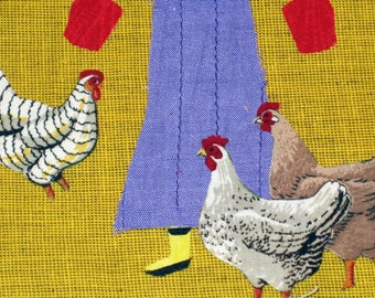Chicken Boots, Chickens, Hens, Free Shipping, Farmer's Wife, Farm Card, Yellow Boots, Rubber Boots, 5x7 Card, Folk Art Card, Kelly Burgess