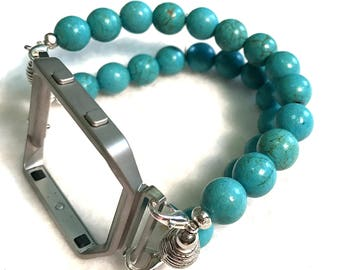 FITBIT Blaze, Watch Band for Fitbit Blaze, Turquoise Howlite Beads Watch Band for Fitbit, Turquoise Watch Band for Fitbit Blaze