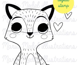 cute little fox digital stamp