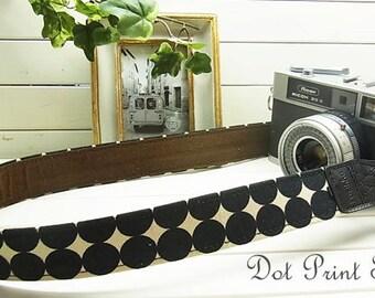 camera strap / print Black Dot  /  Black x Beige