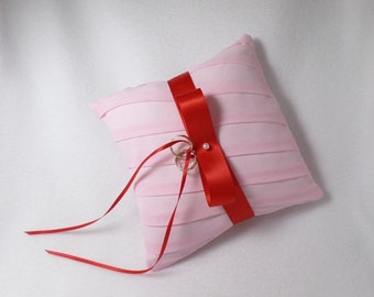 Pink and Red Pleated Ring Bearer Pillow Red satin ribbon Cherry Blossom Pink