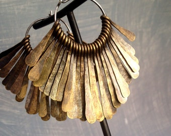 Brass Tribal Hoops