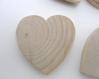 "25 Wooden hearts 1 3/4 inch (1.75"") wide 1/4 inch thick unfinished wood hearts diy"