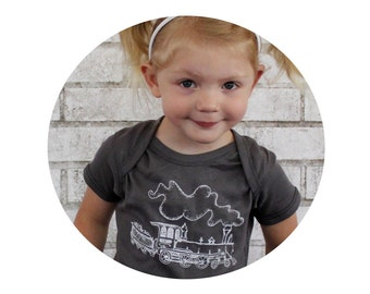 Train Baby Onepiece Bodysuit, Unisex Infant Clothing, Grey, Gray, Hand Printed, Short Sleeved, Cotton One Piece, Choo Choo, Baby Boy Gift