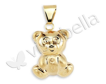 Polished New 14k Gold Bonded Reversible Teddy Bear Charm Pendant