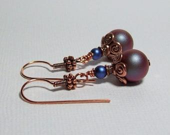 Red and Blue Pearl Earrings. Swarovski Pearl Earrings. Copper Earrings. Everyday Earrings. Wear to Work.