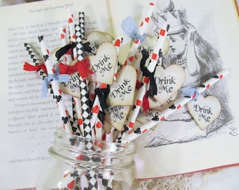 Alice Drink Me Party Straws Drink Stir Straws with Drink Me Heart Flags - Choose Ribbon Colors - Set of 18 - Looking Glass Harlequin