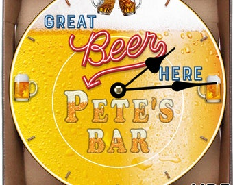 Here For The Beer Personalised Retro Large 30CM/11.81in/ MDF Wall Clock CAN BE Personalised