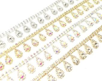 1 Yard Stunning Diamante Rhinestone Tear Drop Crystal Chain Colours Bridal Trim Applique