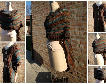 Autumn Blend Poncho - Shawl - Coverup - Sweater- Hand Crochet - Brown blends -Custom Colors