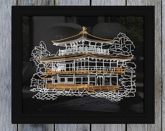 Kyoto golden pavilion handmade papercut art decor - Kyoto Japan Kinkaku-ji original papercutting wall art for home decor