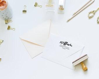 calligraphy rubber stamp - custom stamp - return address stamp