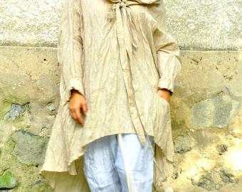 Oversize summer SET/Beige 100% linen pants and silk cotton tunic /SET/Casual Set/Loose beige tunic and light blue pants/Oversized Set/P1499