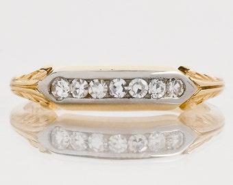 Antique Wedding Band - Antique 1910's 14k & 18k Gold Diamond Wedding Band