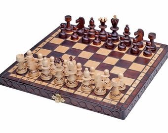 Brand New  Hand Crafted Pearl Wooden Chess Set