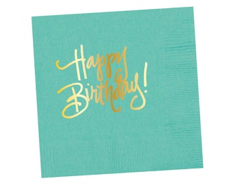 Napkins | Happy Birthday - Robins Egg Blue (in stock)