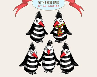 Digital Clipart Ninja Penguins, Penguin Set Clipart, penguin graphics, funky animals graphics set commercial use by SLS Lines