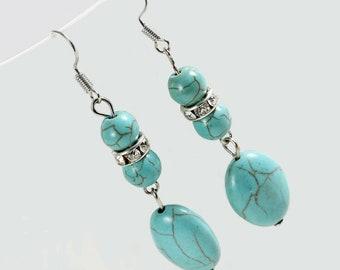 Long Blue Turquoise Earrings, Long Drop Earrings, Silver  Earrings, Bohemian Earrings, Natural Stone Earrings, Mother's Day