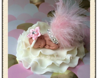 BABY SHOWER CAKE Topper Baby Fondant Pink feather tutu Topper Fondant baby  Tutu Cake Topper Fondant Cake Topper baby girl