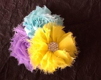 Yellow hair flower, yellow, aqua and lavender hair clip, flower hair clip, shabby chic hair clip, girls hair accessory, yellow hair clip